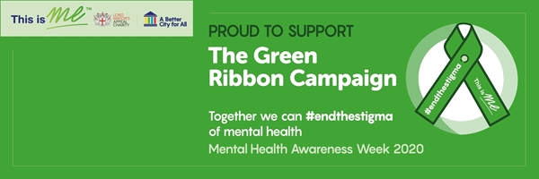 An image of the Green Ribbon on a green background with the words 'proud to support The Green Ribbon Campaign' for your Twitter.