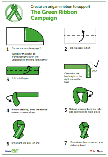 An image of instructions on how to make an origami Green Ribbon