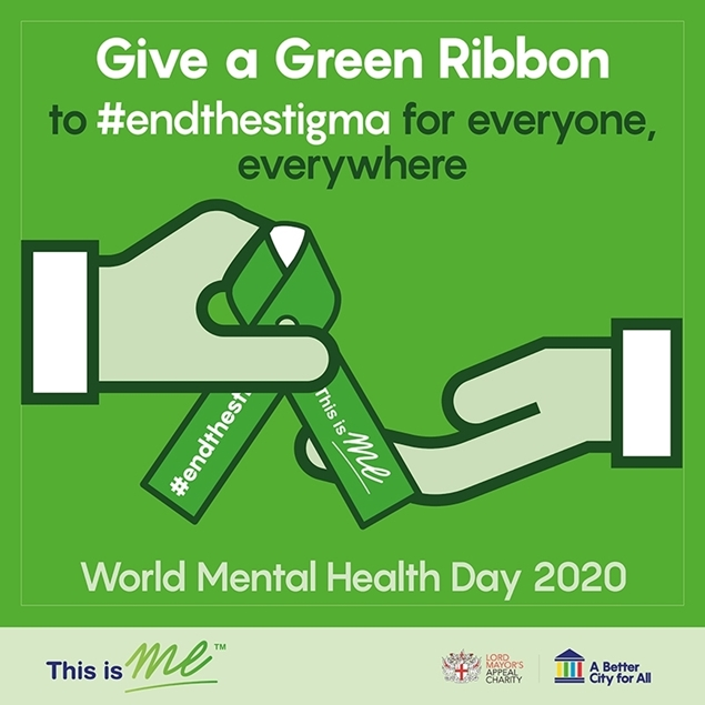Two cartoon hands passing a Green Ribbon to each other with the messaging 'Give a Green Ribbon to #endthestigma for everyone, everywhere' on World Mental Health Day 2020.