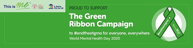 A Green Ribbon with the words 'proud to support the Green Ribbon campaign' alongside