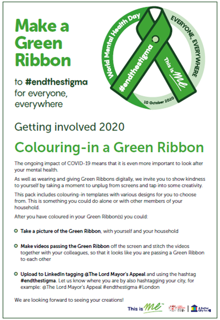 Outline of a ribbon which can be coloured in