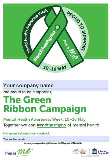 Picture of The Green Ribbon Campaign A3 Editable Poster: Download