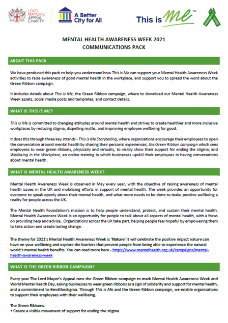 Picture of Mental Health Awareness Week Comms Pack: Download