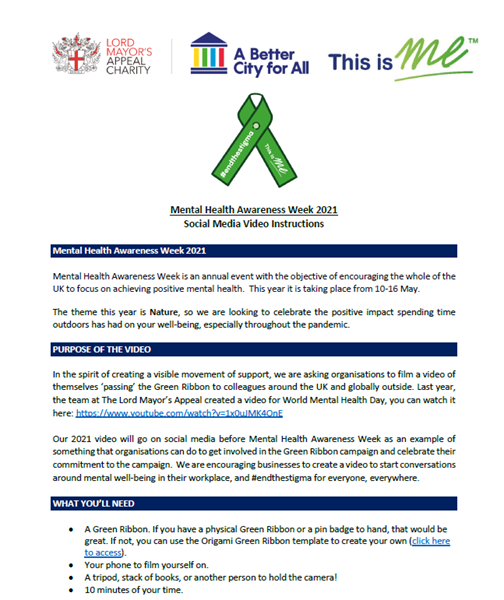 Picture of Green Ribbon Video Instructions: Download