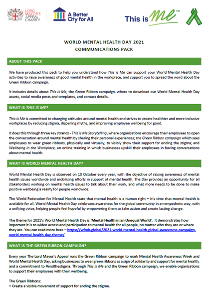 Picture of World Mental Health Day Comms Pack: Download